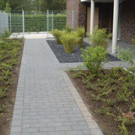 Bepflanzung und gepflasterter Weg